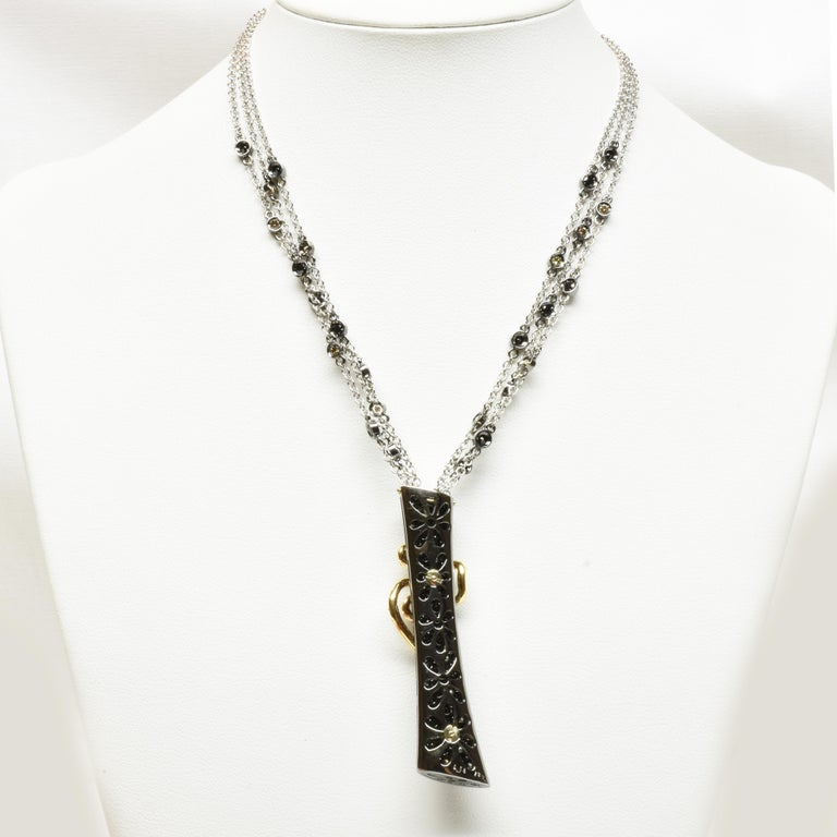 Black and White Diamonds Black Gold Necklace Made in Italy For Sale 1