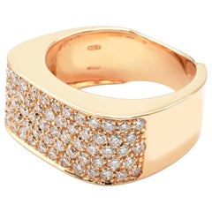Gilberto Cassola Diamond Pave Rose Gold Square Ring Made in Italy