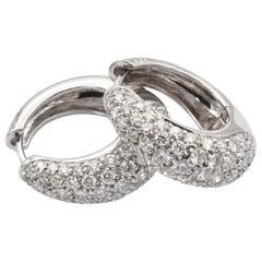Gilberto Cassola Diamond White Gold Hoop Earrings Made in Italy
