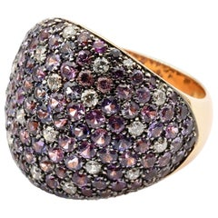 Gilberto Cassola Rainbow Sapphires and Diamonds Rose Gold Ring Made in Italy