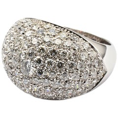 Gilberto Cassola White Gold Pavee Diamond Ring Made in Italy