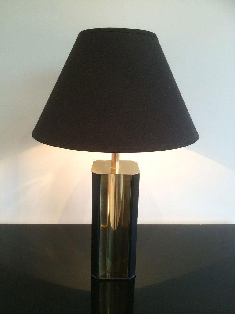 Gilt Metal and Black Wood Lamp with Convex Gild Metal Base, circa 1970 For Sale 4