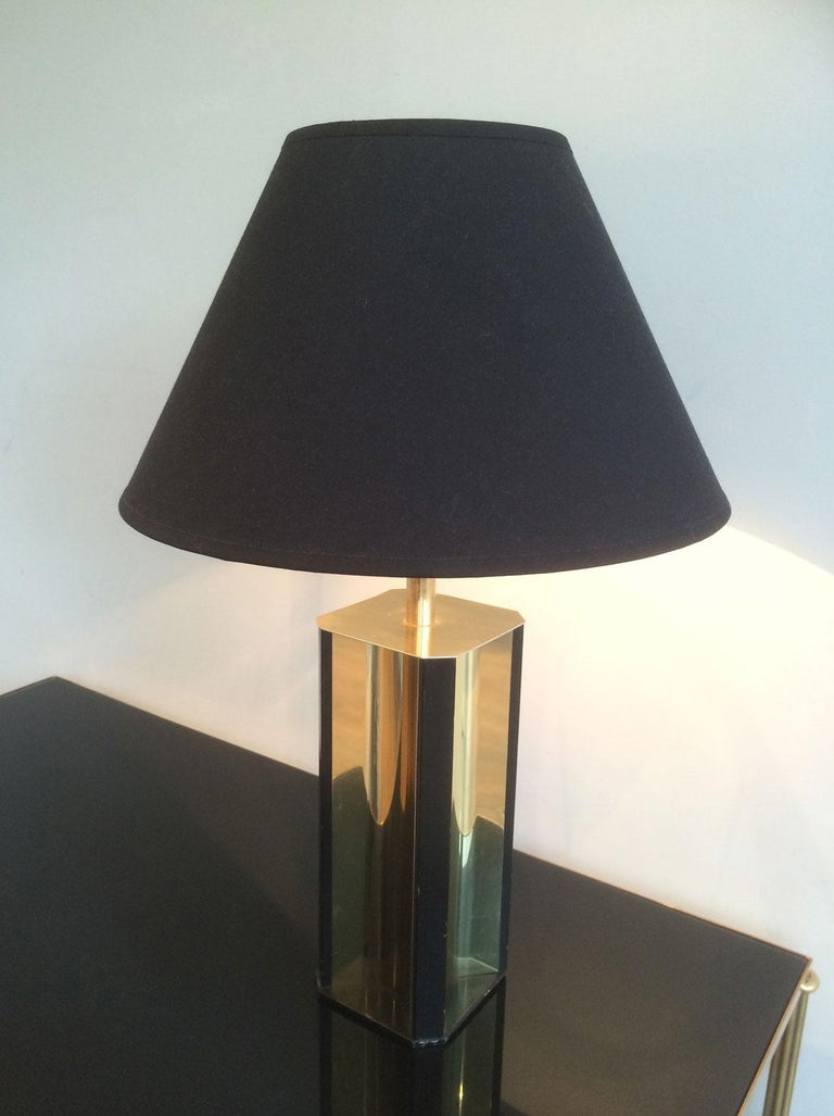 Gilt Metal and Black Wood Lamp with Convex Gild Metal Base, circa 1970 For Sale 5