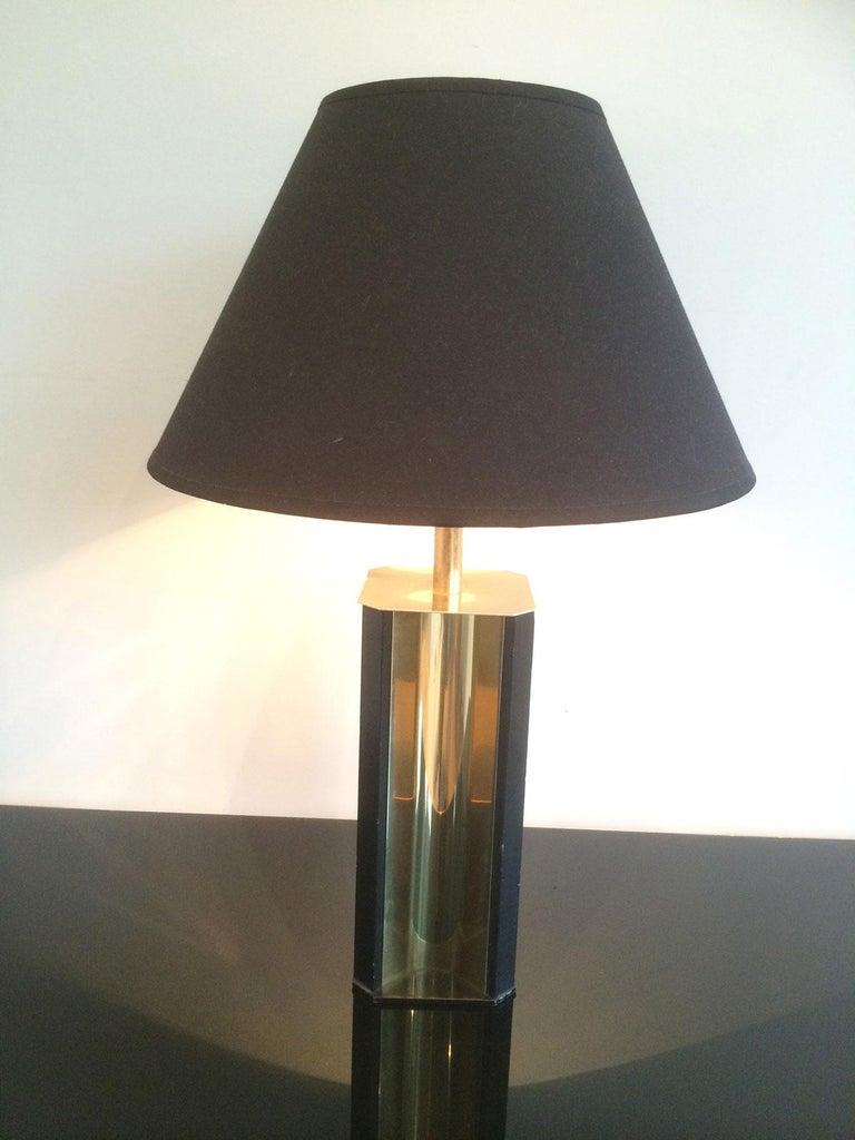 Gilt Metal and Black Wood Lamp with Convex Gild Metal Base, circa 1970 For Sale 6