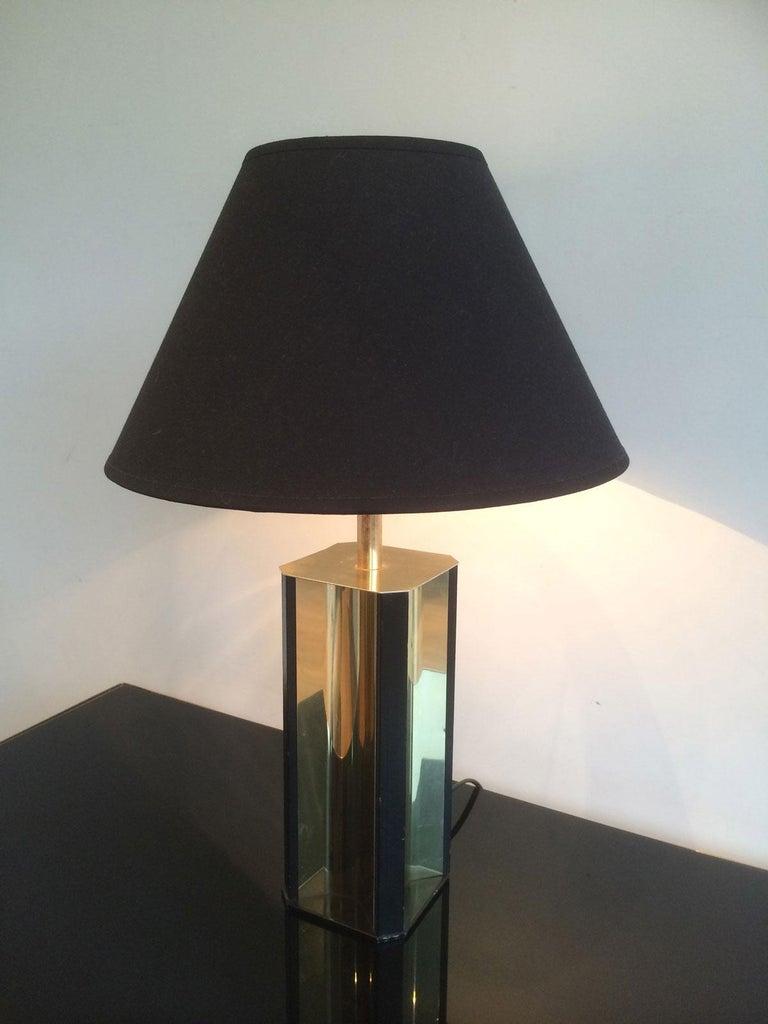 Gilt Metal and Black Wood Lamp with Convex Gild Metal Base, circa 1970 For Sale 7