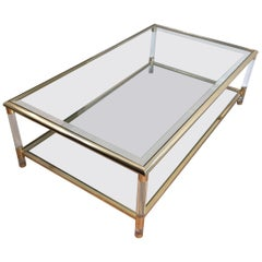 Gild on Nickel and Lucite Coffee Table, French, circa 1970