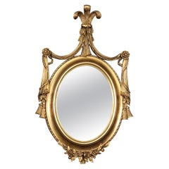 Gilded Adams Style Oval Mirror with Decorative Elements
