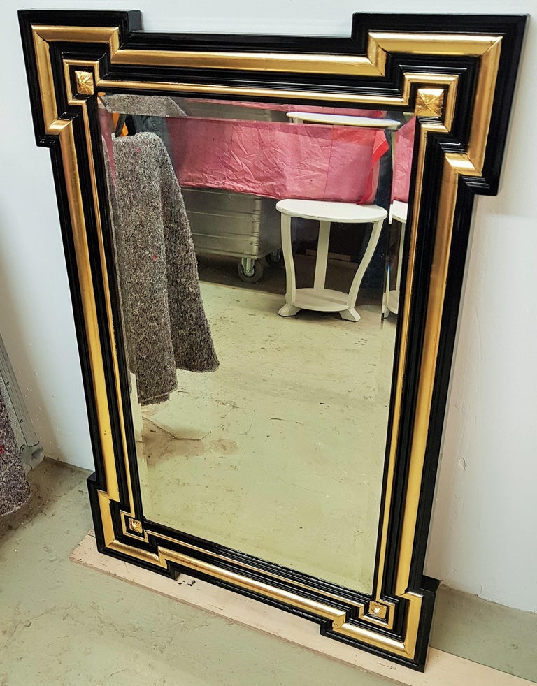 Gilded and Ebonized French Wall Mirror Napoléon III, 1860 In Good Condition For Sale In Saarbruecken, DE