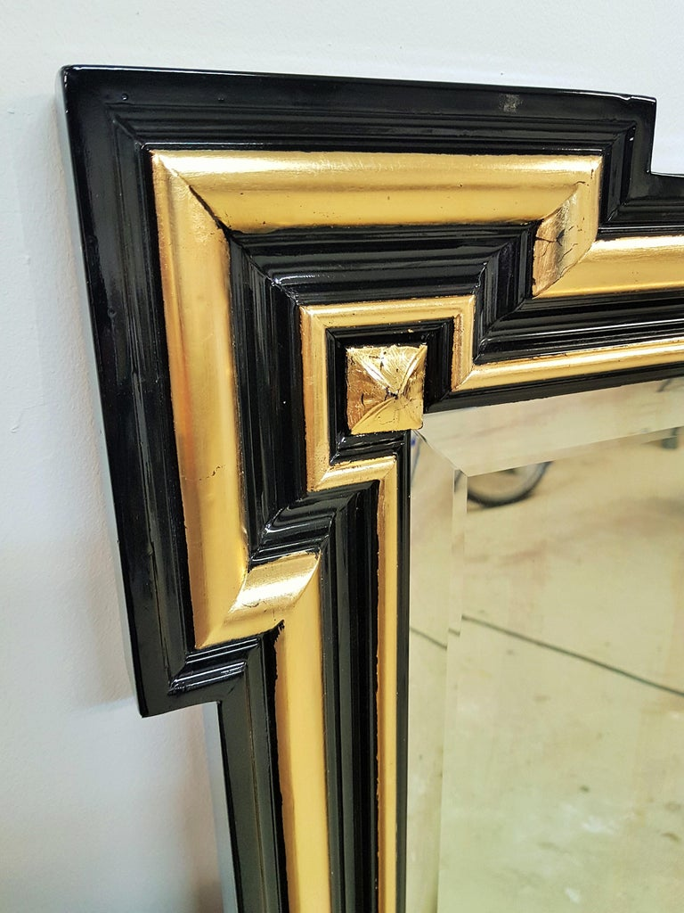 Gilded and Ebonized French Wall Mirror Napoléon III, 1860 For Sale 1