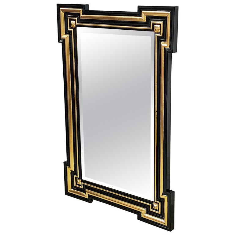 Gilded and Ebonized French Wall Mirror Napoléon III, 1860 For Sale