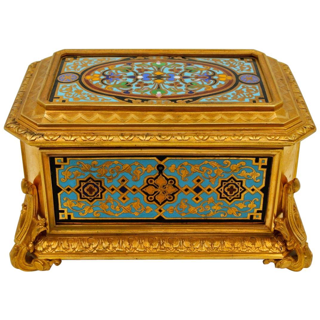Gilded and Enameled Bronze Box, Velvet Interior, Signed TAHAN