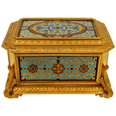 Gilded and Enameled Bronze Box, Velvet Interior, Signed TAHAN