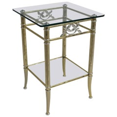 Gilded and Silver Plated Two-Tiered Vintage Side Table, 1970s