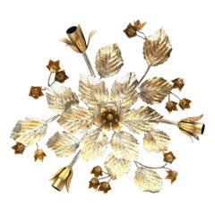 Gilded and Silvered Metal Leafs Tole Hollywood Regency Flush Mount, Germany