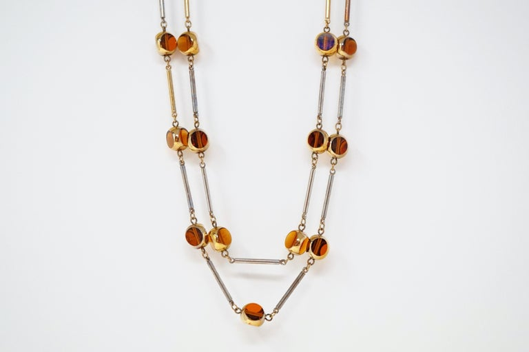 Gilded and Smoked Glass Necklace and Earring Demi-Parure Set by Bergère, 1970s In Good Condition For Sale In Los Angeles, CA