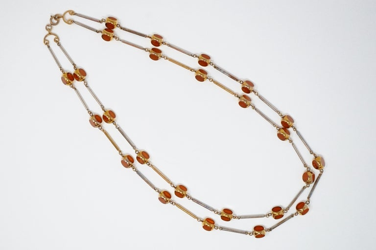 Women's Gilded and Smoked Glass Necklace and Earring Demi-Parure Set by Bergère, 1970s For Sale