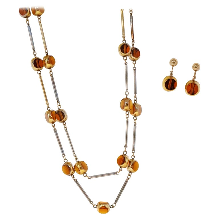 Gilded and Smoked Glass Necklace and Earring Demi-Parure Set by Bergère, 1970s For Sale