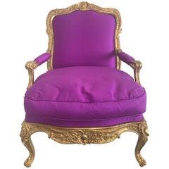 Vergoldeter Lehnstuhl im Stil von Louis XVI