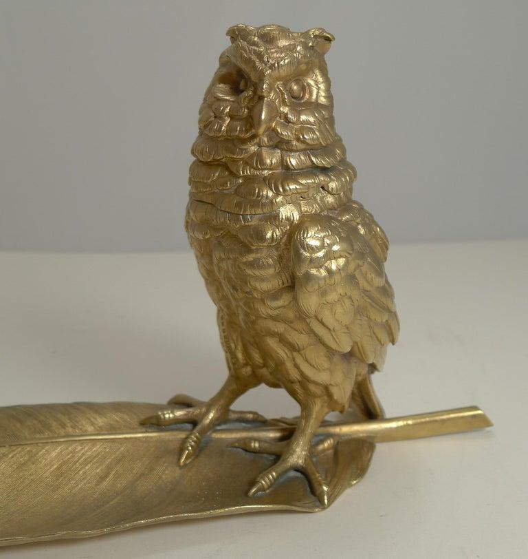 Gilded Austrian Bronze Inkwell / Pen Rest, Signed Bergmann For Sale 4