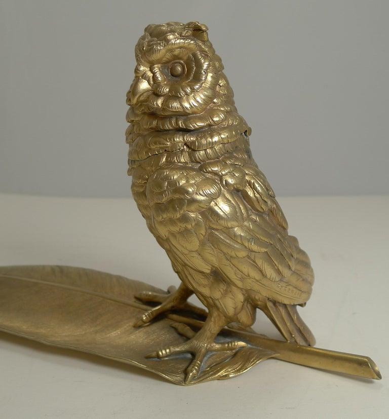 Gilded Austrian Bronze Inkwell / Pen Rest, Signed Bergmann For Sale 5