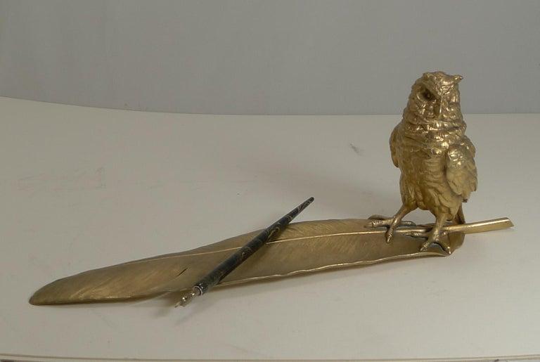 Gilded Austrian Bronze Inkwell / Pen Rest, Signed Bergmann For Sale 6