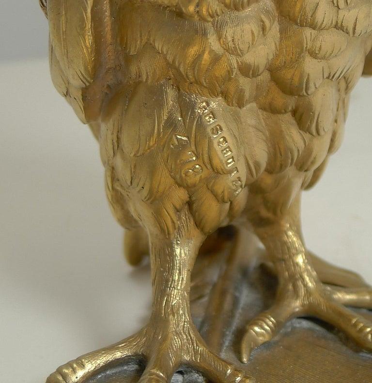 Gilded Austrian Bronze Inkwell / Pen Rest, Signed Bergmann For Sale 8