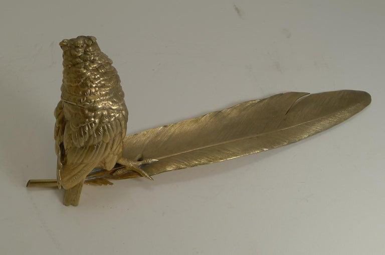Edwardian Gilded Austrian Bronze Inkwell / Pen Rest, Signed Bergmann For Sale