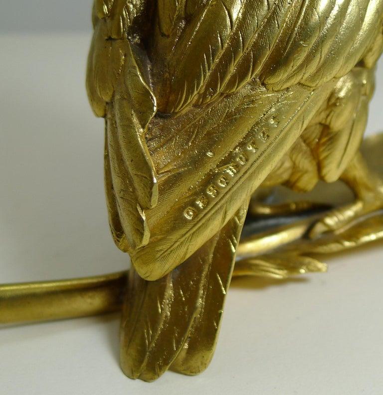 Gilt Gilded Austrian Bronze Inkwell / Pen Rest, Signed Bergmann For Sale