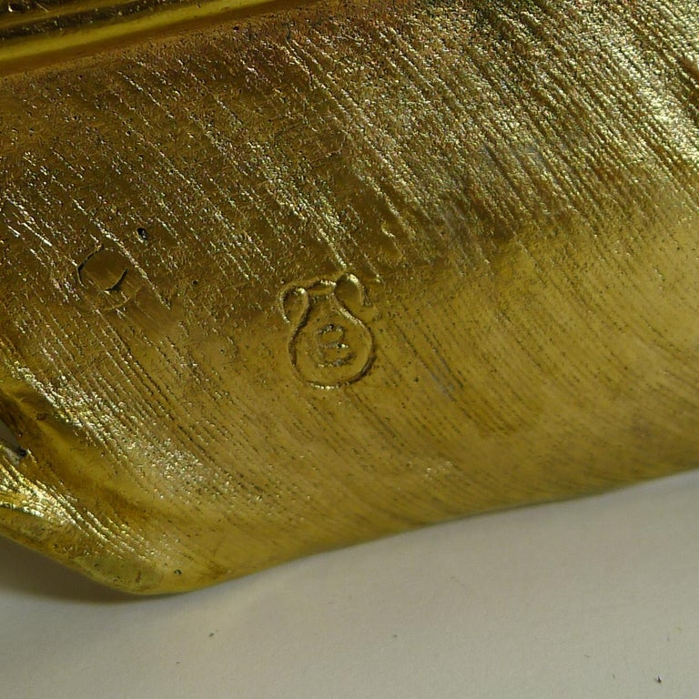 Gilded Austrian Bronze Inkwell / Pen Rest, Signed Bergmann In Good Condition For Sale In London, GB