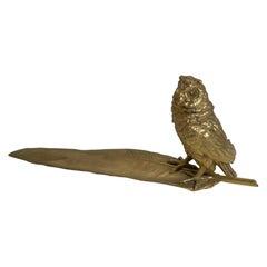 Gilded Austrian Bronze Inkwell / Pen Rest, Signed Bergmann