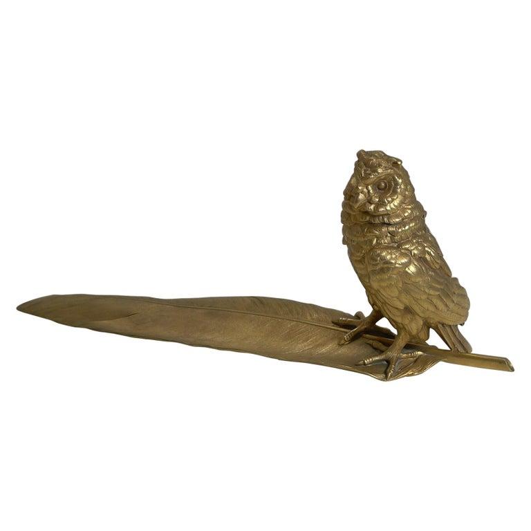 Gilded Austrian Bronze Inkwell / Pen Rest, Signed Bergmann For Sale