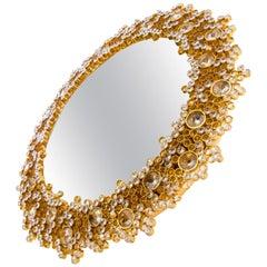 1960 Germany Palwa Gilded Backlit Mirror with Swarovski Crystals & Brass
