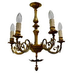 Gilded Brass 5-Branch Rococo Style Chandelier