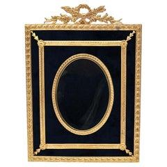 Gilded Brass and Blue Velvet Photo Frame
