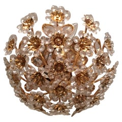 Gilded Brass and Crystal Glass Flower Chandelier by Palwa