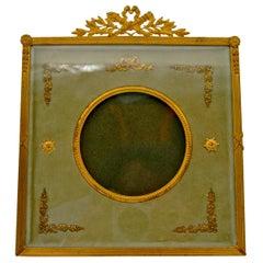 Gilded Brass and Water Green Velvet Photo Frame
