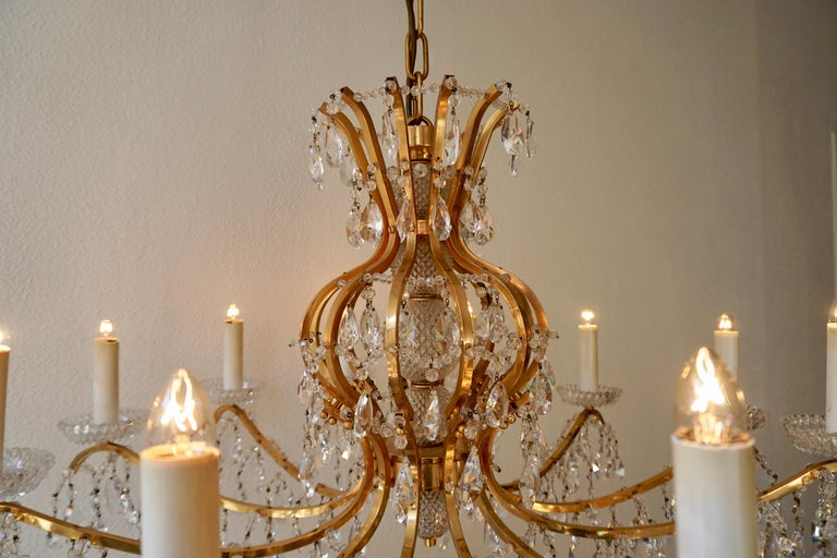 Gilded Brass Crystal Chandelier 4