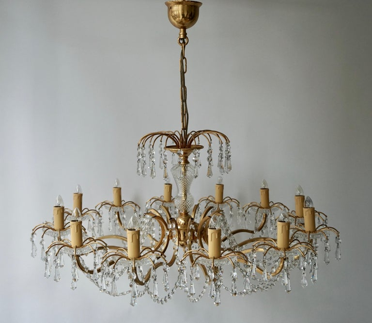 Gilded Brass Crystal Chandelier For Sale 4