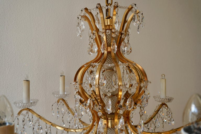 Gilded Brass Crystal Chandelier 6