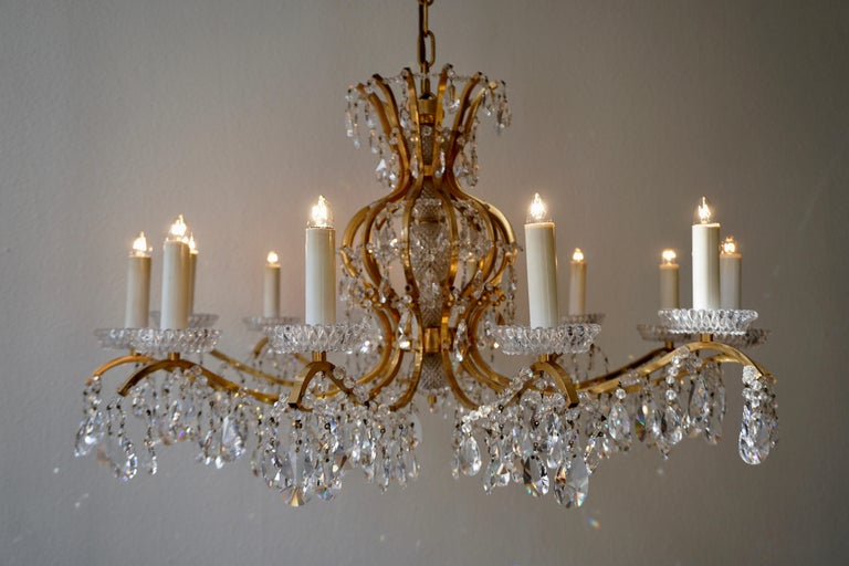 Gilded Brass Crystal Chandelier 7