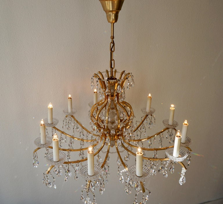 Gilded Brass Crystal Chandelier 8