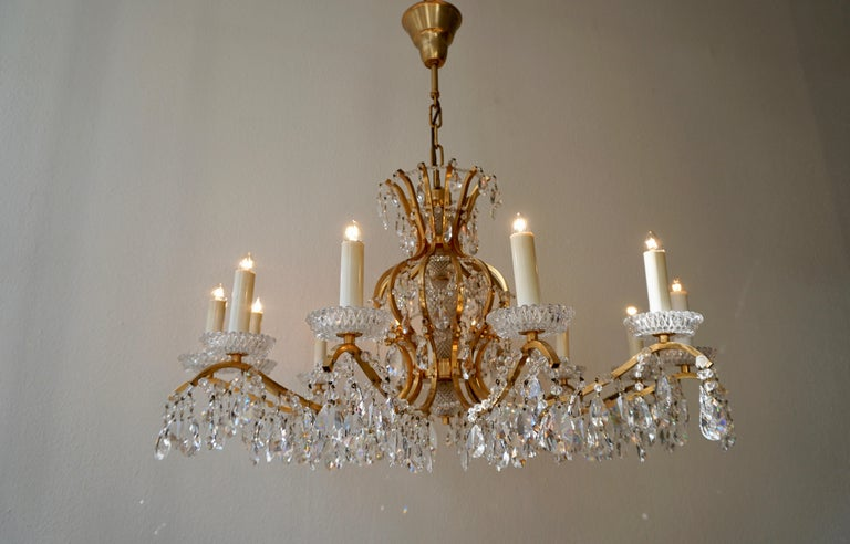 Hollywood Regency Gilded Brass Crystal Chandelier