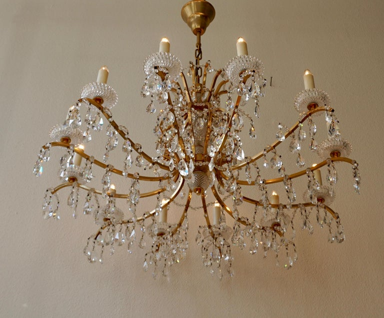 Italian Gilded Brass Crystal Chandelier
