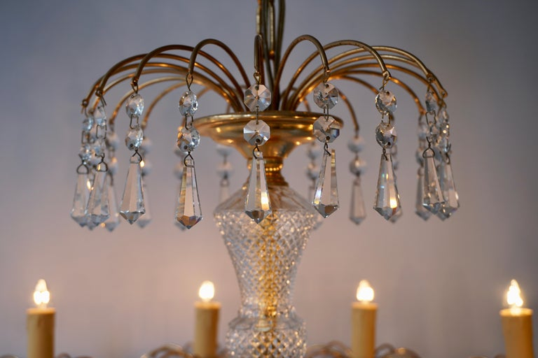 Italian Gilded Brass Crystal Chandelier For Sale
