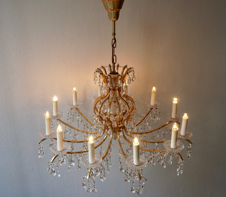 Gilded Brass Crystal Chandelier In Good Condition In Antwerp, BE