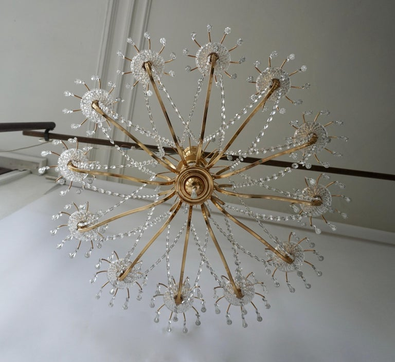 Gilded Brass Crystal Chandelier In Good Condition For Sale In Antwerp, BE