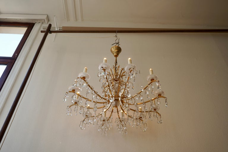 Gilded Brass Crystal Chandelier 1