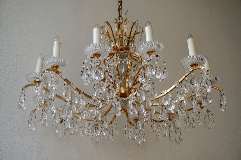 Gilded Brass Crystal Chandelier 2