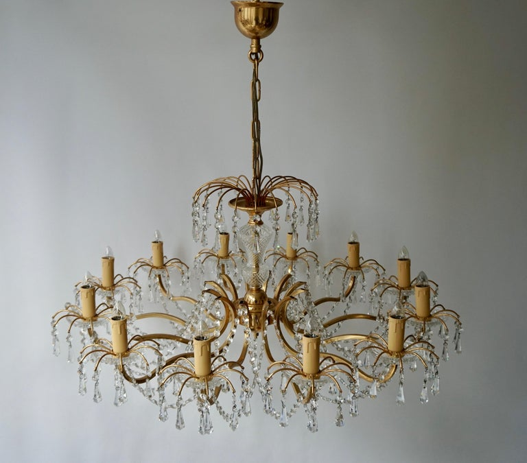 Gilded Brass Crystal Chandelier For Sale 2