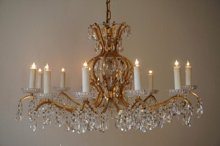 Gilded Brass Crystal Chandelier 3